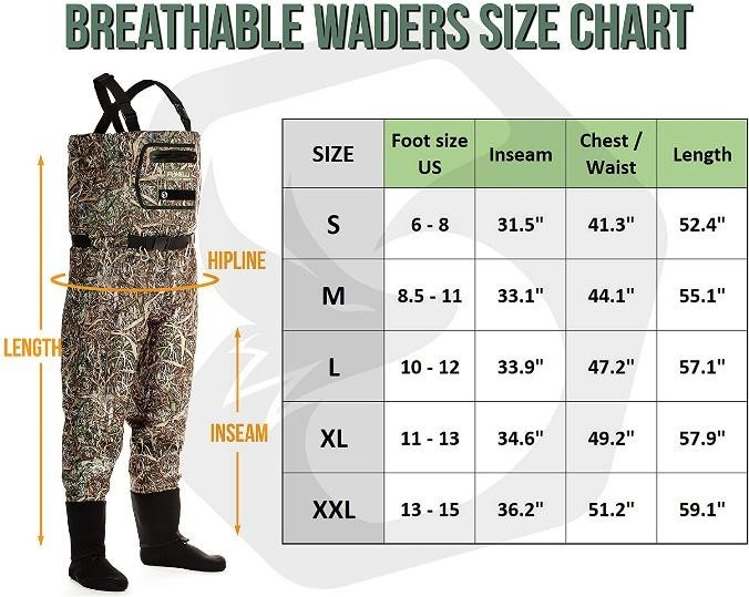 breathable waders size chart