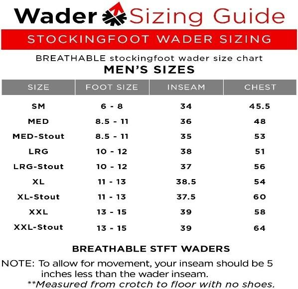 best waist waders Sizes